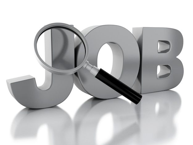 3d search job text with magnifying glass.