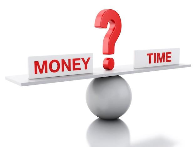 お金と時間の3dシーソーバランス