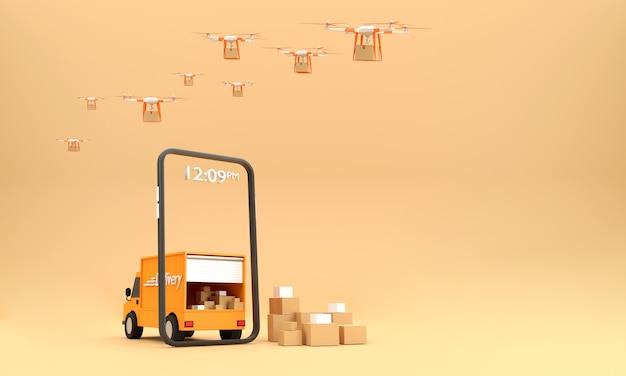 3d. продажа через интернет с мобильных телефонов, готовых к доставке дроном и грузовиком.