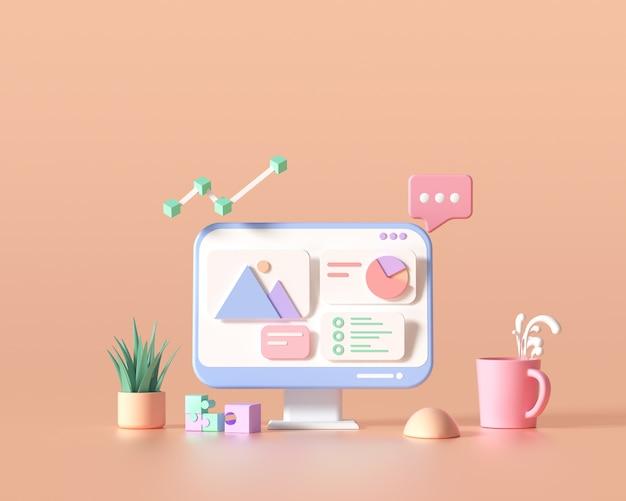 3d seo最適化、ウェブ分析、seoマーケティングの概念。 3dレンダリングイラスト