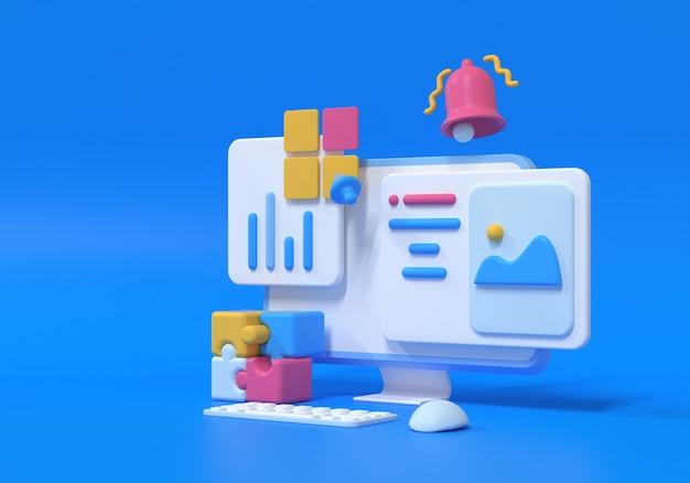 Оптимизация 3d seo, веб-аналитика и концепция seo-маркетинга. 3d визуализация иллюстрации