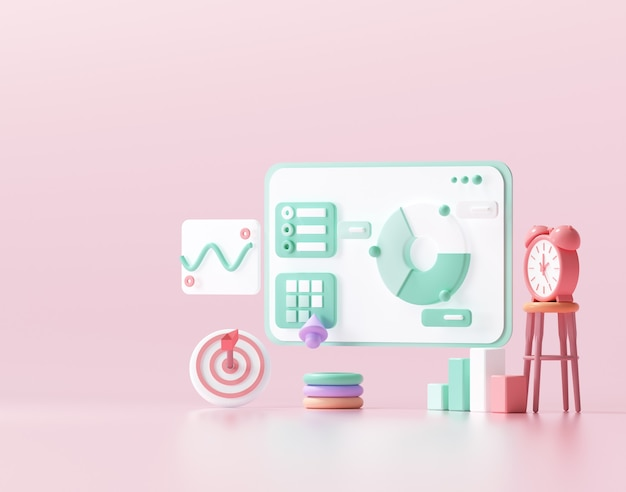 3d seo 최적화, 웹 분석 및 seo 마케팅 소셜 미디어 개념. 3d 렌더링 그림