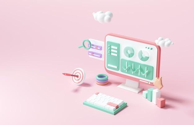 3d seo optimization, web analytics and seo marketing concept. 3d render illustration