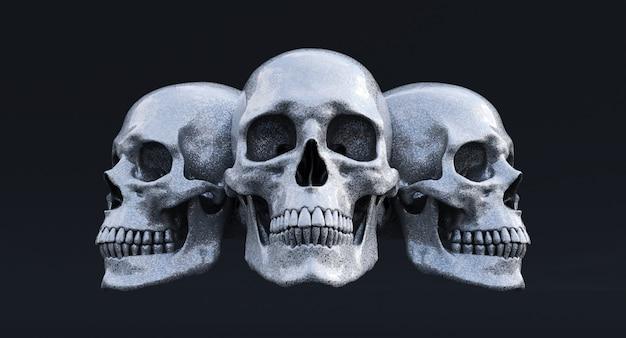 3차원, 세트, 인간의, 두개골, 고립된, 백색 위에서, 배경, 3d, render