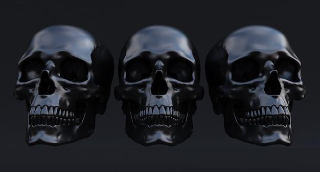 검은 배경에 고립 된 검은 인간의 두개골의 3d 세트, 3d 렌더링
