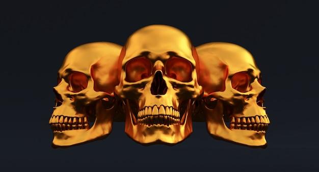 검은 배경에 고립 된 황금 인간의 두개골의 3d 세트, 3d 렌더링