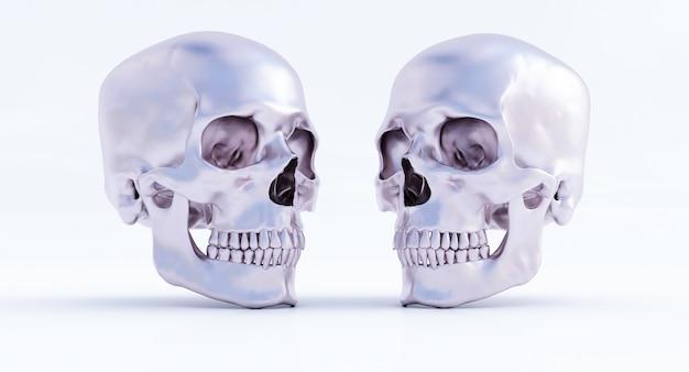 검은 배경에 고립 된 인간의 두개골의 3d 세트, 3d 렌더링