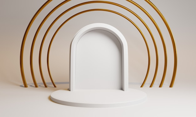 3d shapes with door and circles for product presentation