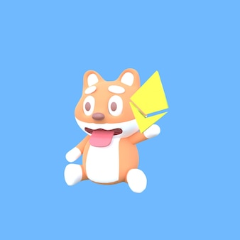 3d shiba inu with ethereum symbols with blue background