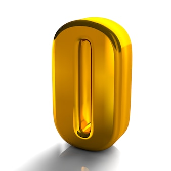 3d блестящий золотой номер 0 нулевой коллекции высокого качества 3d визуализации, изолированных на белом