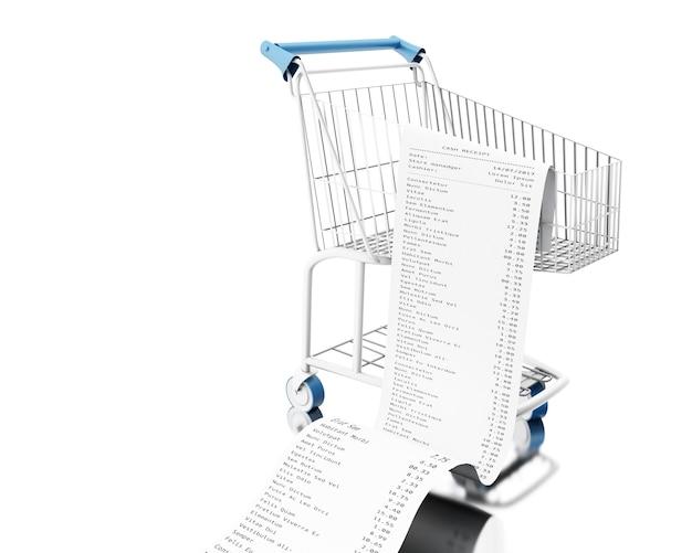 3d shopping cart with cash receipt