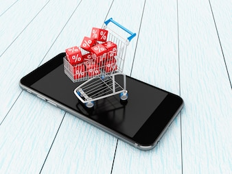 3D Shopping cart with discount icons on smartphone.