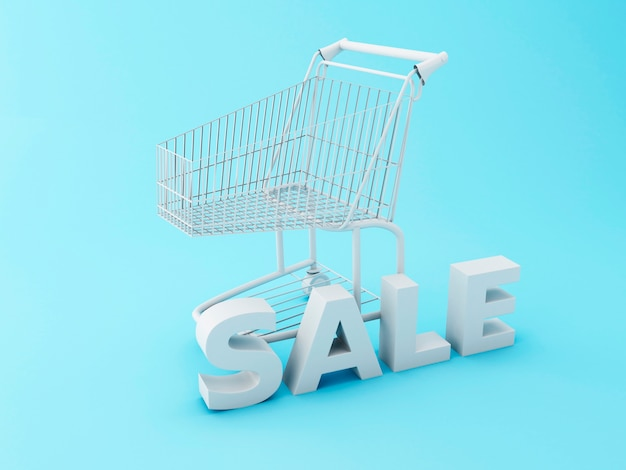 3d shopping cart with word sale.