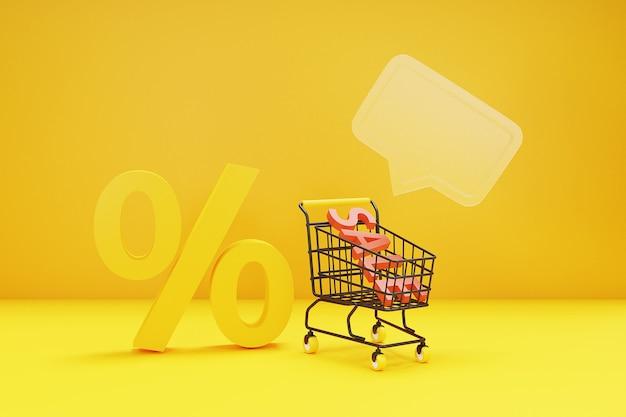 쇼핑 카트와 3d 쇼핑 온라인 개념입니다. 3d 렌더링.
