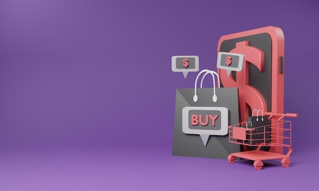 Концепция покупок 3d онлайн с магазинной тележкаой и мобильным телефоном.