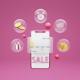 3d shopping online concept with shopping cart,money,gift box and mobile phone. 3d rendering.