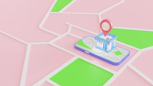 3d 쇼핑 스토어, gps navigation이 있는 모바일 스마트폰. gps 탐색 및 매장 위치 개념입니다. 3d 렌더링 그림