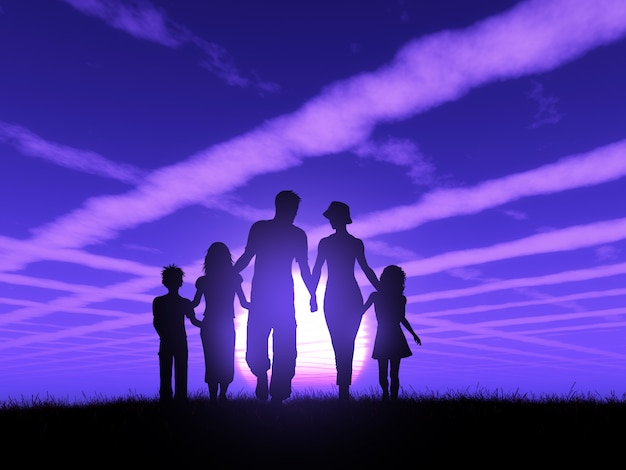 3d silhouette of a family walking against a sunset sky