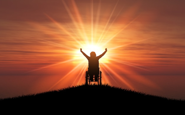 3d silhouette of a female in a wheelchair with her arms raised against a sunset ocean