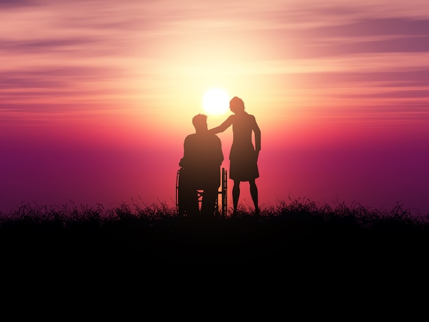 3d silhouette of a man in a wheelchair with a woman against a sunset landscape