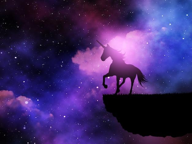 宇宙の夜空に対するファンタジーユニコーンの3 dシルエット