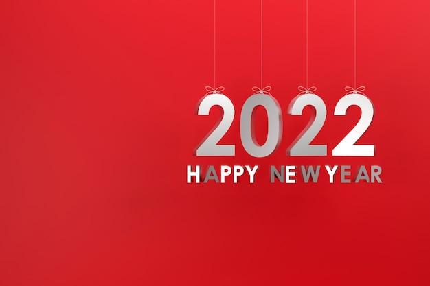 ロープでぶら下がっている3dシルバー2022コンセプト明けましておめでとうとクリスマス赤いブラックグラウンド