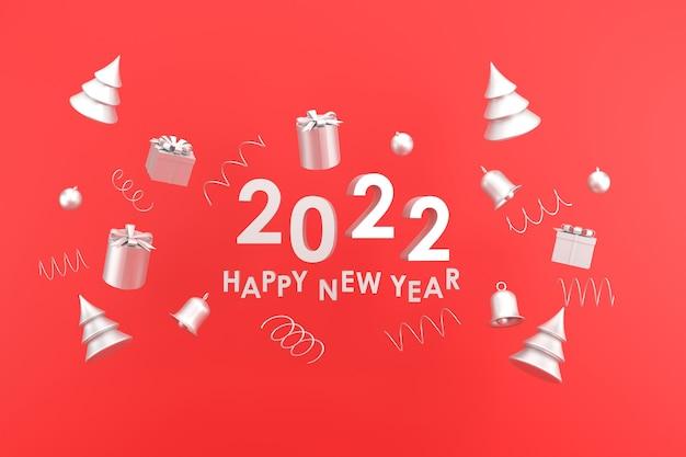 3d. серебряный цвет с новым годом 2022 и рождеством. подарочная коробка, колокольчик на красном фоне