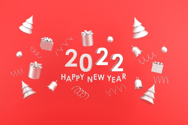 3d. silver color happy new year 2022 and christmas. gift box, bell on red background