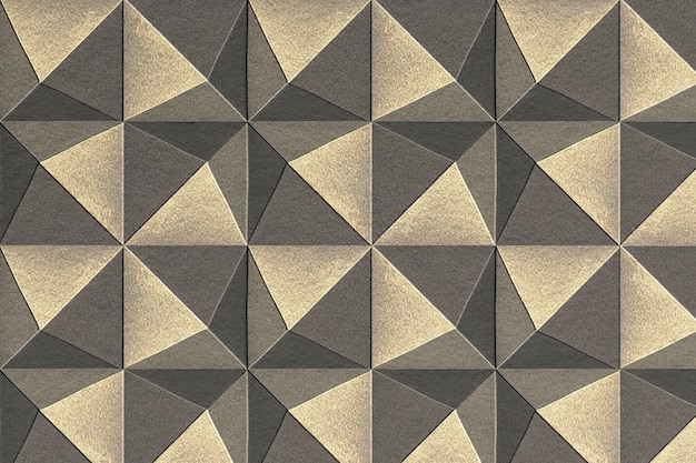 3d silver and gold paper craft pentahedron patterned background