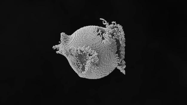 抽象細胞感染と原子構造の破壊の3dシミュレーション。