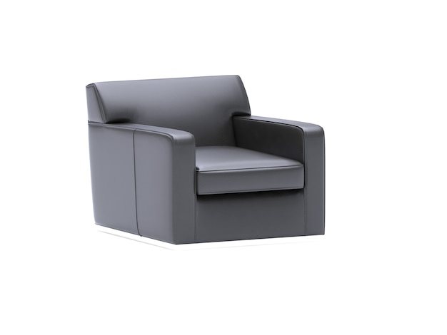 リアルな3dレンダリングされた黒いソファsingal座席