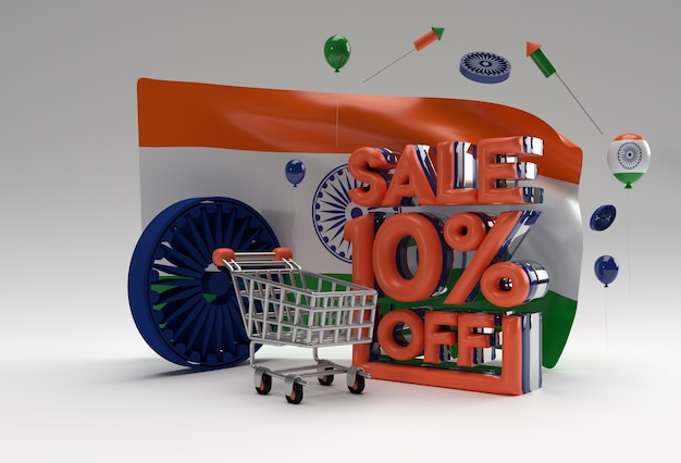 3d singapore flag with 10% sale off discount banner concept.