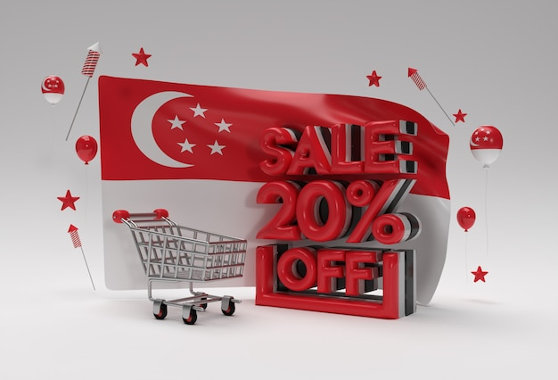 3d singapore flag with 20% sale off discount banner concept.