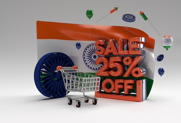 3d singapore flag with 25% sale off discount banner concept.
