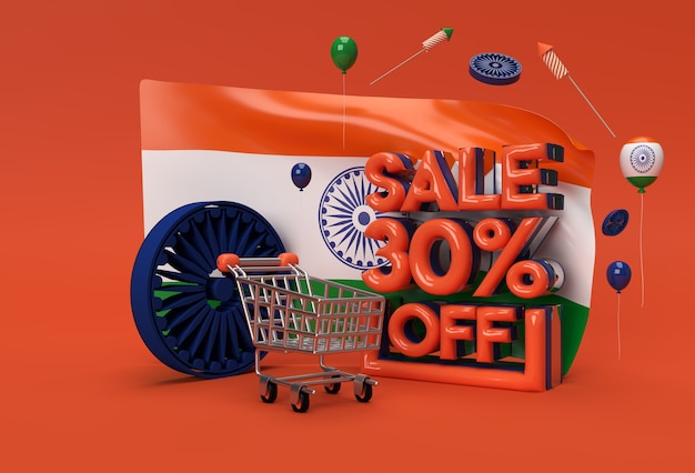 3d singapore flag with 30% sale off discount banner concept.