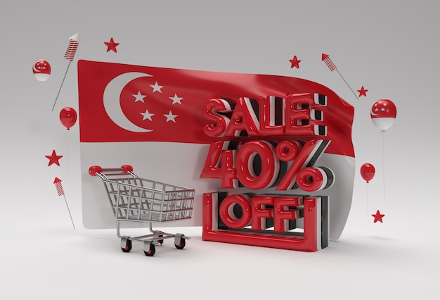 3d singapore flag with 40% sale off discount banner concept.