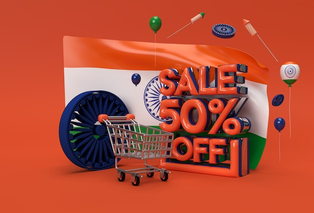3d singapore flag with 50% sale off discount banner concept.