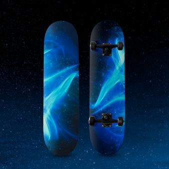 青い炎のプリントが施された3dスケートボード