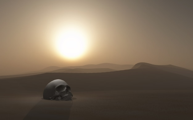 3d skull buried in a desert against a sunset sky