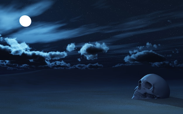 3d skull partially buried in sand against night sky