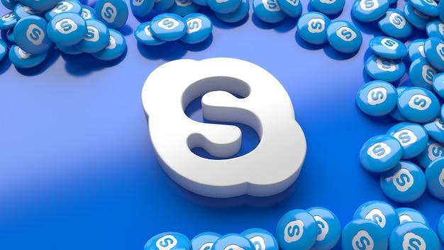 3d логотип скайпа на синем фоне в окружении множества глянцевых таблеток скайпа
