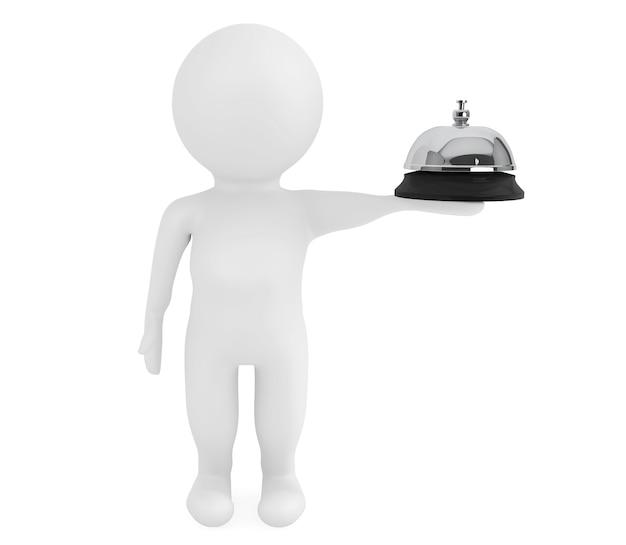 3d маленький персонаж со служебным звонком на белом фоне