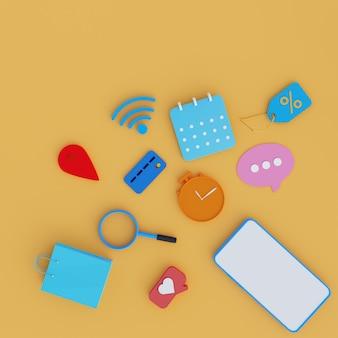 오렌지 배경에 3d 스마트 폰, 시계, 신용 카드, 와이파이 및 더 많은 아이콘