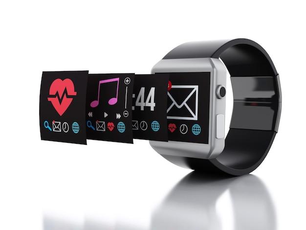 3d smart watch. technology concept