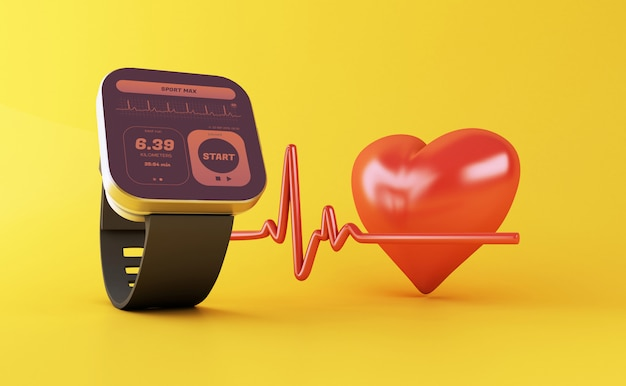 3d smart watch with health app icon