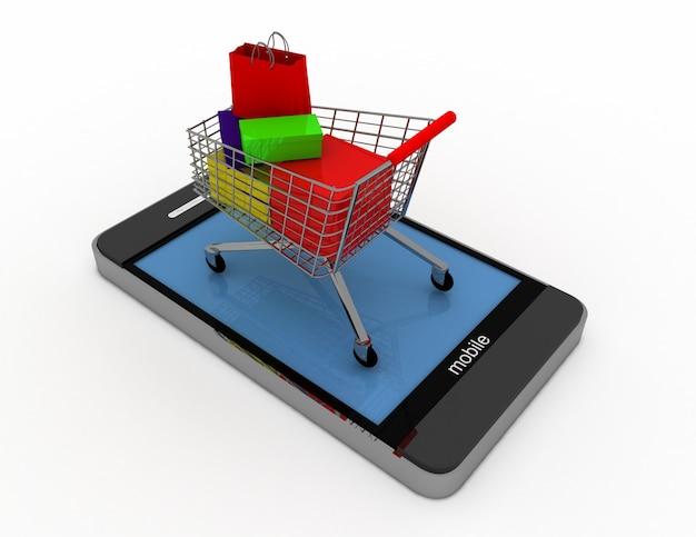 3dスマートフォンとカート。オンラインショッピングの概念