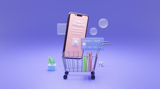 3d 스마트 폰 및 인터넷 뱅킹. 쇼핑백이있는 스마트 폰, 신용 카드를 통한 온라인 결제 보안 거래.