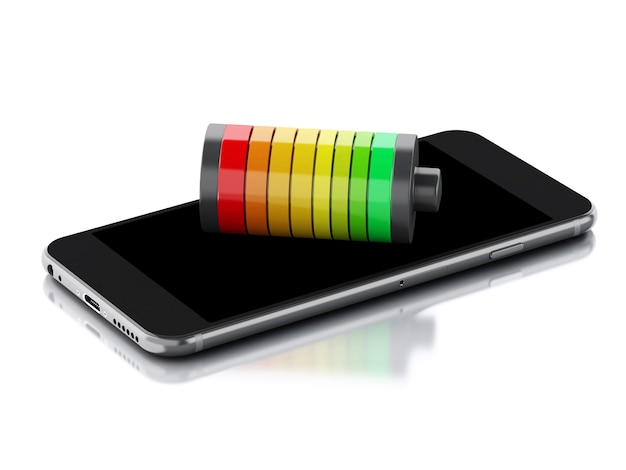 3d smartphone and battery charge indicator