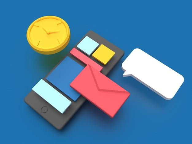 青色の背景の3dスマートフォン機能アプリ
