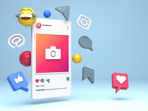 Дизайн 3d-иллюстрации смартфона для профилей instagram с копией пространства